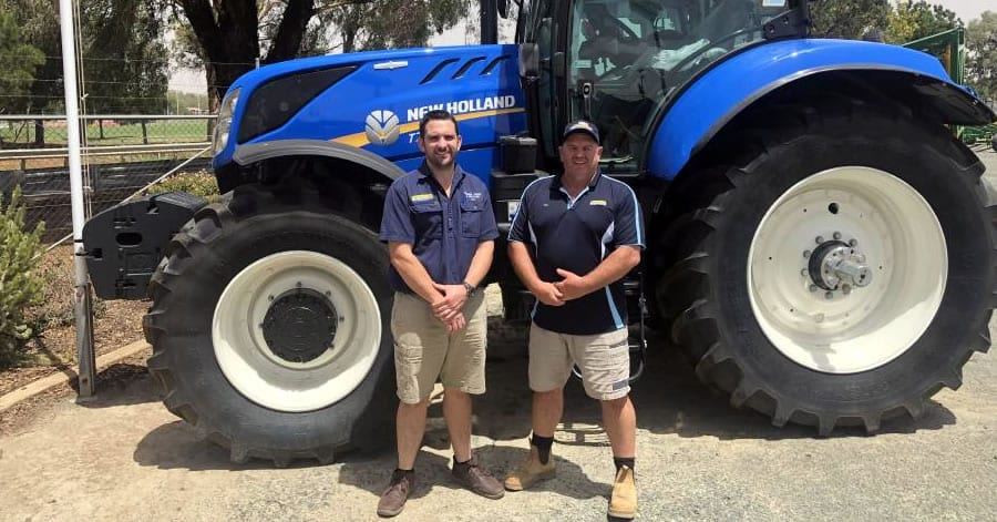Temora Truck and Tractor's branch manager Tom Harvey with incoming owner David Thompson.
